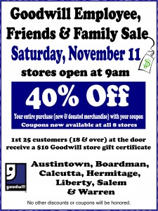 Goodwill friends & family sale poster Nov